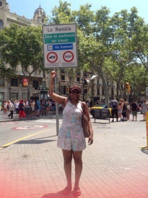 At one Top of the Famous La Rambla Street in Barcelona!