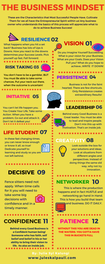 The Busines MIndset, Unleash your Abundance in these 12 Characteristics!