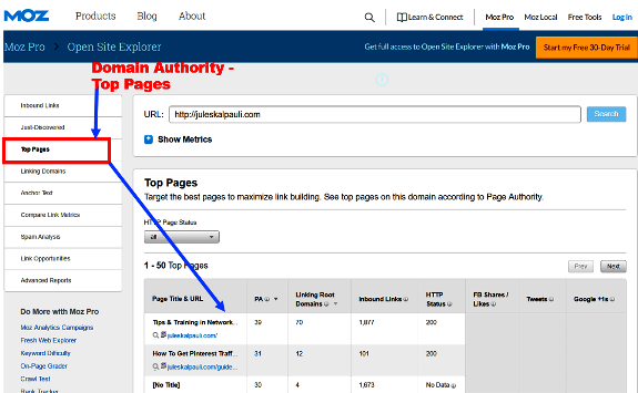 White Hat SEO- Use Moz OPen SIte Explorer to find your Ranking Pages!