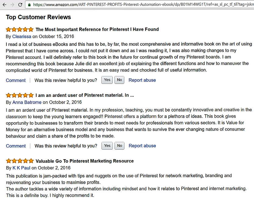 The Art of Pinterest Profits _Amazon Reviews