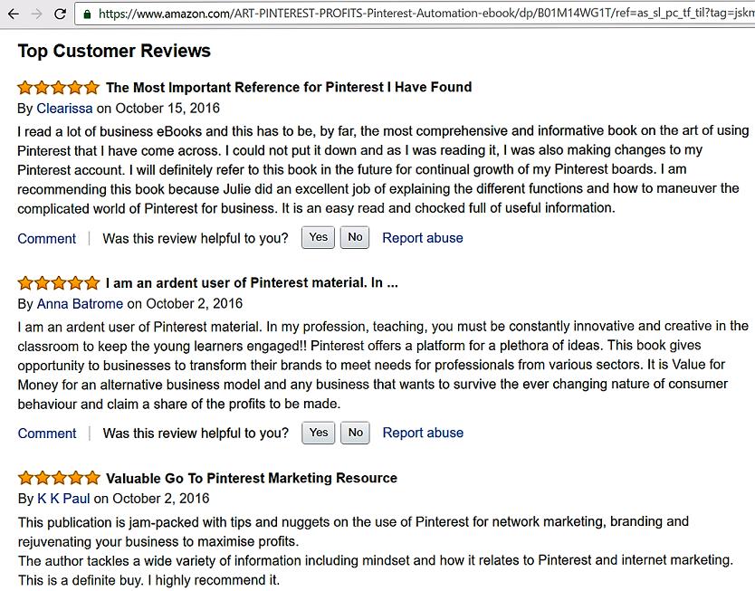 The Art of Pinterest Profits _Amazon Reviews